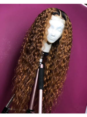 Magic Love Human Virgin Hair Ombre Curly Pre Plucked Lace Front Wig And Full Lace Wig For Black Woman Free Shipping (MAGIC0145)