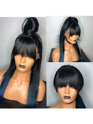 Magic Love Human Unprocessed Human Virgin Pre Plucked Ombre 1B/Blue Straight Lace Front Wig & Full Lace Wig with Bangs(MAGIC0190)