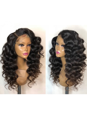 Magic Love Human Virgin Hair Loose Curl Pre Plucked Lace Wig For Black Woman Free Shipping(Magic0205)