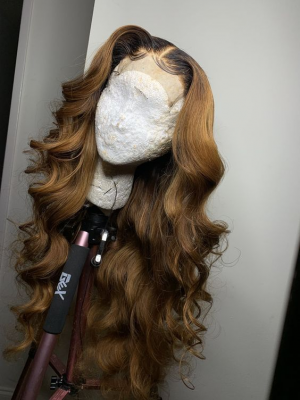Magic Love Human Virgin Hair Ombre 1b/27 Pre Plucked Lace Front Wig And Full Lace Wig For Black Woman Free Shipping (MAGIC0211)