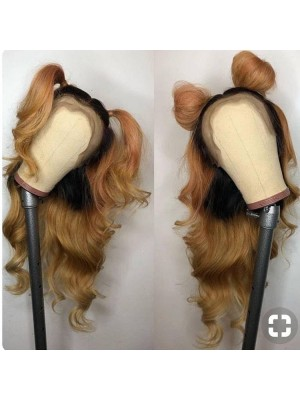 Magic Love Ombre  #1b/27 Pre Plucked Lace Wigs Factory Stock Straight Human Hair wigs (MAGIC096)