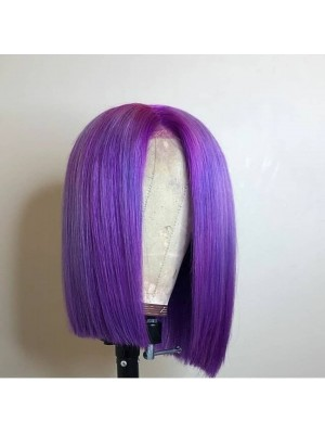 Magic Love Pre Plucked Lace Front Wig And Full lace wig Factory Stock BOB STRAIGHT Color Purple Human Hair wigs (MAGIC0159)