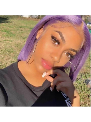 Magic Love Human Virgin Hair 13x6 Purple Bob Pre Plucked Lace Front Wig And Full Lace Wig For Black Woman Free Shipping (MAGIC0422)