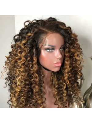Magic Love Hair 300% Density Human Hair Ombre 1b/27 Curly Closure Wig Made By Bundles And Closure/Frontal (MAGIC0299)