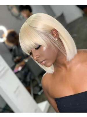 Magic Love Hair Brazilian Virgin Hair 613 Blonde Bob With Bangs Lace Front Wig&Full Lace Wig(Magic0302)