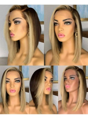 Magic Love Human Virgin Hair Ombre Summer Bob Wave Pre Plucked Lace Front Wig And Full Lace Wig For Black Woman Free Shipping (MAGIC0241)