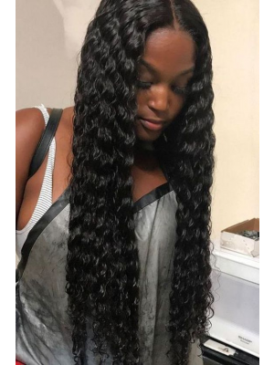 Magic Love Human Virgin Hair Pre Plucked Natural Color Deep Wave Lace Front Wig & Full Lace Wig For Black Woman Free Shipping(Magic0231)