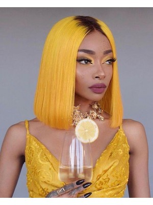 Magic Love Human Virgin Hair Color 1B/Yellow Summer Bob Pre Plucked Lace Front Wig And Full Lace Wig For Black Woman Free Shipping (MAGIC0262)