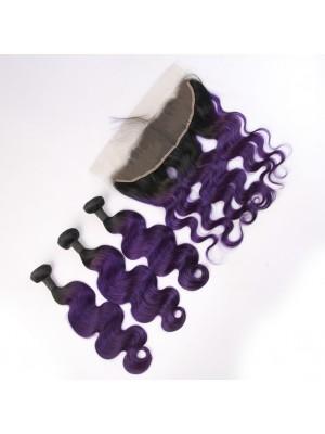 Magic Love Ombre 3 Bundles With(or not) Closure/Frontal Brazilian Virgin Human Hair Color 1B/purple Hair(magic0141)