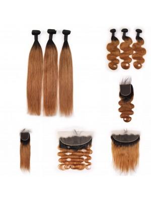 Magic Love Ombre 3 Bundles With(or not) Closure/Frontal Brazilian Virgin Human Hair Color 1B/30 Hair(magic0140)