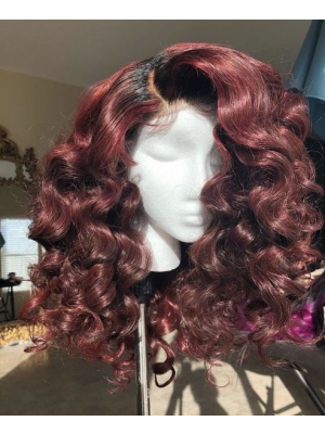 Magic Love Hair 300% Density Pre Plucked Human Hair Ombre 1b/99J Wave Closure Wig Made By Bundles And Closure/Frontal (MAGIC0230)