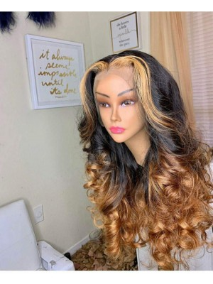 Magic Love Hair 300% Density Pre Plucked Human Hair Ombre 1b/27 Wave Closure Wig Made By Bundles And Closure/Frontal (MAGIC0228)