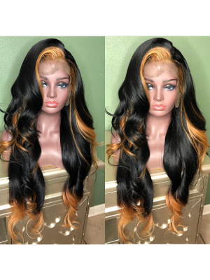 Magic Love Hair 300% Density Pre Plucked Human Hair Ombre 1b/27 Wave Closure Wig Made By Bundles And Closure/Frontal (MAGIC0242)