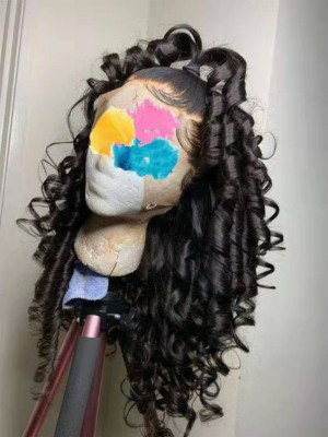 Magic Love Human Virgin Hair curly Pre Plucked Lace Wig For Black Woman Free Shipping(Magic0301)