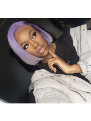 Magic Love Human Virgin Hair Purple Color Summer Bob Pre Plucked Lace Front Wig And Full Lace Wig For Black Woman Free Shipping (MAGIC0263)