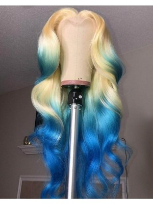 Magic Love Human Virgin Hair Ombre Blonde& Blue Pre Plucked Lace Front Wig And Full Lace Wig For Black Woman Free Shipping (MAGIC0193)