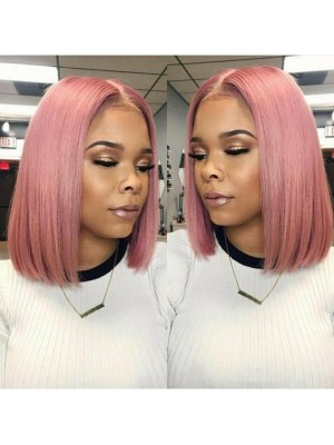 Magic Love Human Virgin Hair Pink Color Summer Bob Pre Plucked Lace Front Wig And Full Lace Wig For Black Woman Free Shipping (MAGIC0275)