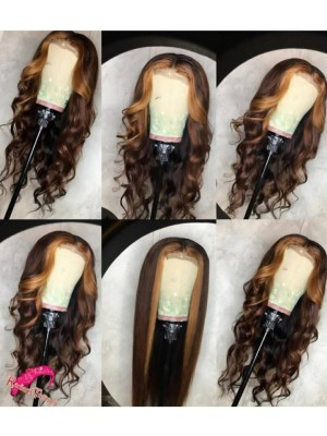Magic Love Human Virgin Hair Ombre 1b/27 Pre Plucked Lace Front Wig And Full Lace Wig For Black Woman Free Shipping (MAGIC0251)