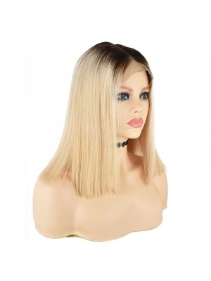 Magic Love Human Virgin Pre Plucked Ombre 1B/613 Blonde Bob Lace Wigs(MAGIC097)