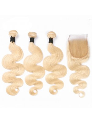 Magic Love 3 Bundles With(or not) Closure/Frontal 613 Color Brazilian Virgin Human Hair Pure Blonde Hair Body Wave Hair Wefts(magic087)