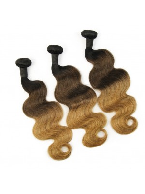 Magic Love Ombre 3 Bundles With(or not) Closure/Frontal Brazilian Virgin Human Hair Ombre Color 1b/4/27 Hair(magic0150)
