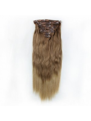 Magiclove Straight Clip In Hair Extensions 100% Brazilian Human Virgin Hair Color #6/27(MAGIC082)
