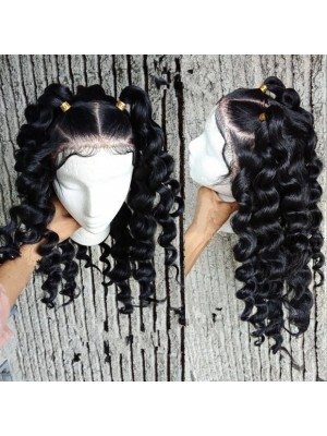 Magic Love Human Virgin Hair Loose Curl Pre Plucked Lace Wig For Black Woman Free Shipping(Magic0278)
